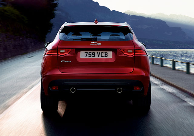 Red Jaguar F-PACE rear haunches and LED tail light