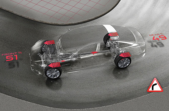 Computer Generated Image of Jaguar XE's All Wheel Drive system.