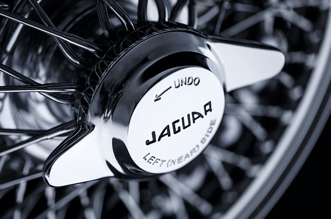 A Jaguar Classic wheel zoomed in.