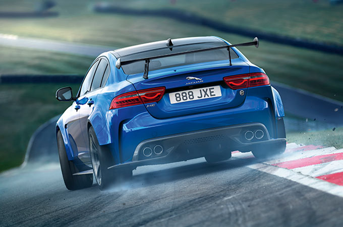 Jaguar XE SV Project 8 in blue on a race track from behind
