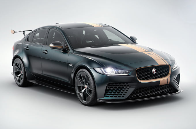 Jaguar XE SV Project 8 in black with an gold strip running from the front to the back of the car