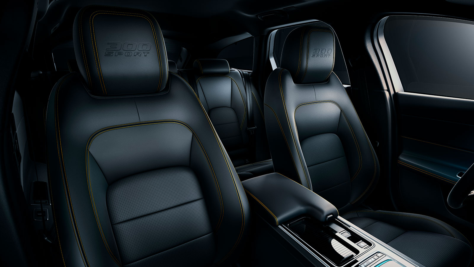 Jaguar XF 300 sport exterior - These 14-way sport seats feature distinctive Yellow stitching and 300 SPORT embossing.