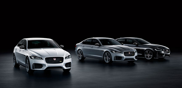 Jaguar's XF 300 SPORT is available in the following metallic paint colors: Yulong White, Indus Silver and Santorini Black.