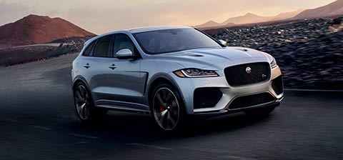 Grey F-PACE SVR driven on road