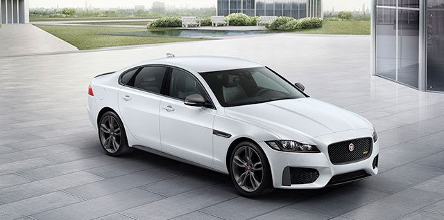 Jaguar XF 300 SPORT saloon in Yulong White.