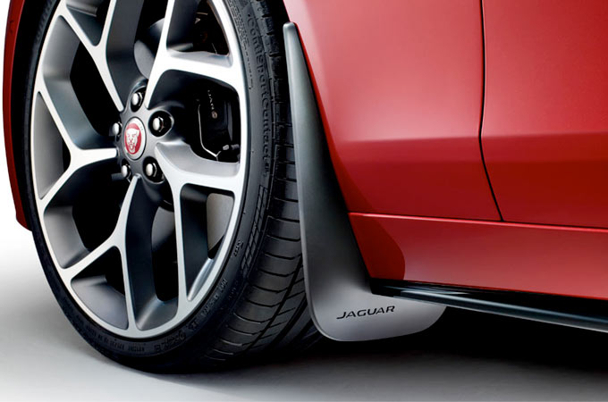 Close up of a jaguar wheel showing the brakes.