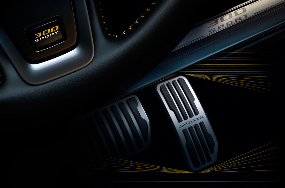 Jaguar XF 300 SPORT - Exclusive yellow contrast twin-needle stitching, branded carpet mats and branded metal tread plates.