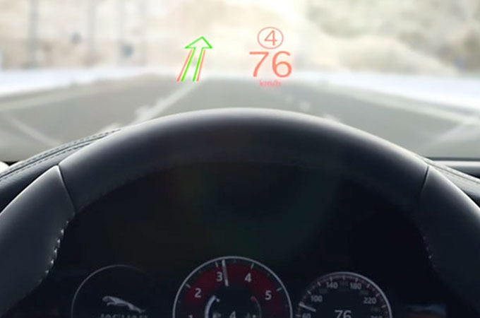 Jaguar XF Head-Up Display Using Laser Technology.