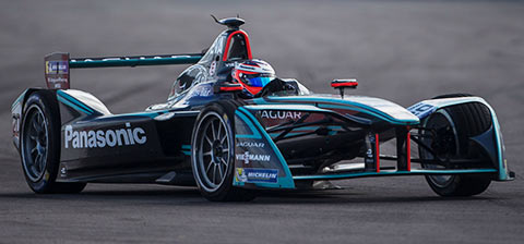 Jaguar Formula E Car Racing in Rome