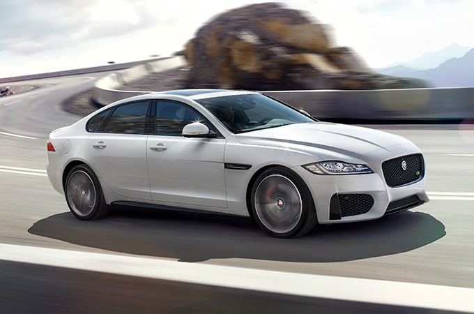 Jaguar XF Driving On Road - In Car Wifi.