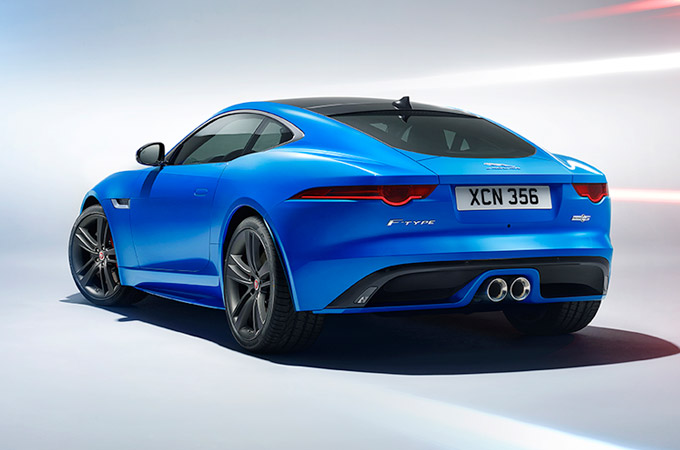 Jaguar F-TYPE British Edition in blue from behind.