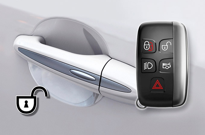 Jaguar's Key Fob and door handle, for the Keyless Entry and Keyless Locking.