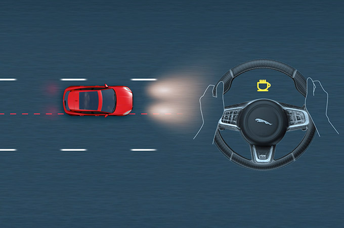 Diagram showing the Jaguar E-Pace detecting the driver is drowsy and providing early warning.