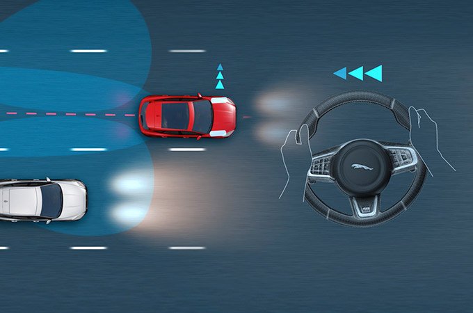 Diagram showing the areas that the Jaguar E-Pace Blind Spot Assist covers.