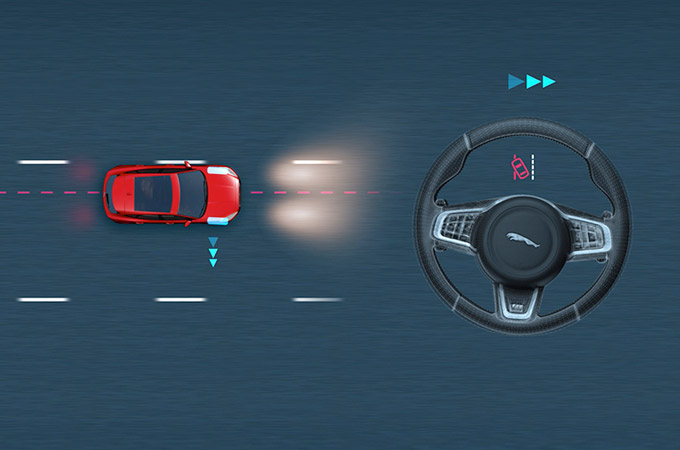 Diagram showing the Jaguar E-Pace detecting lane drift and correcting.