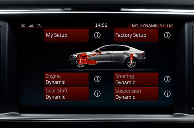 Jaguar XE's Configurable Dynamics system screen.