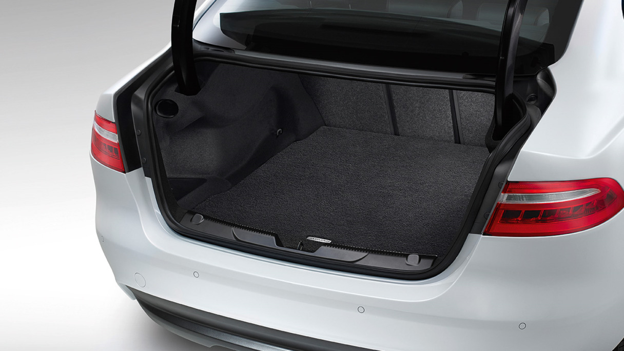 Jaguar XE's boot space, detailing its powered gesture boot lid.