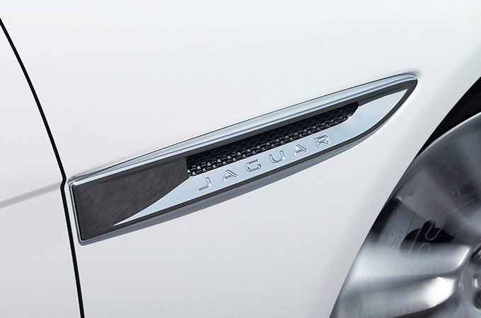 Jaguar XE's chrome side vents.