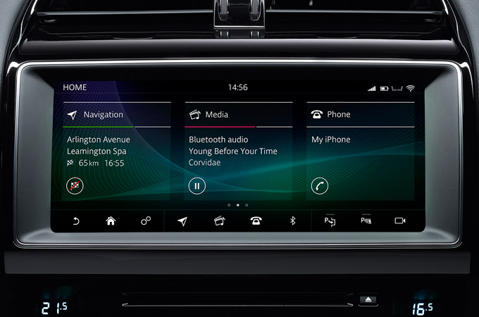 "Jaguar XE's 10"" Dual View Touchscreen."