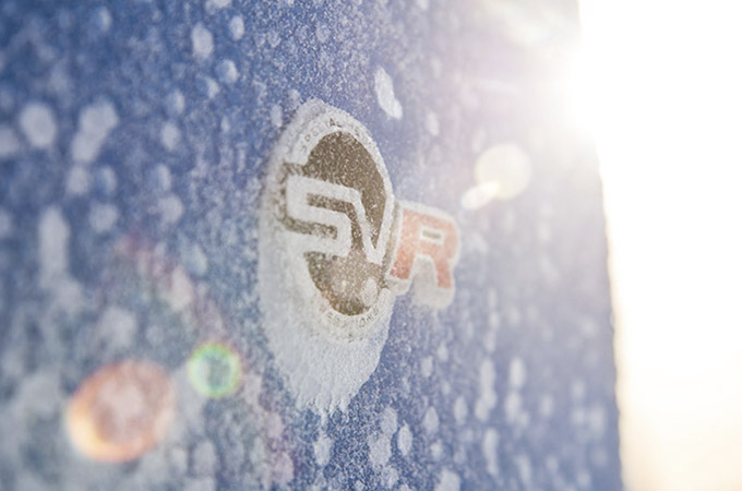 SVR logo covered in snow.