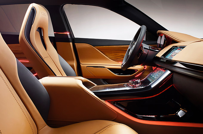Front cabin of the Jaguar C-X17 concept car with tan interior.