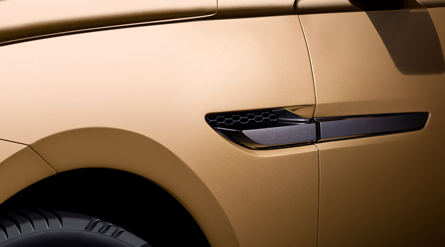 Jaguar C-x17 gold side panel.