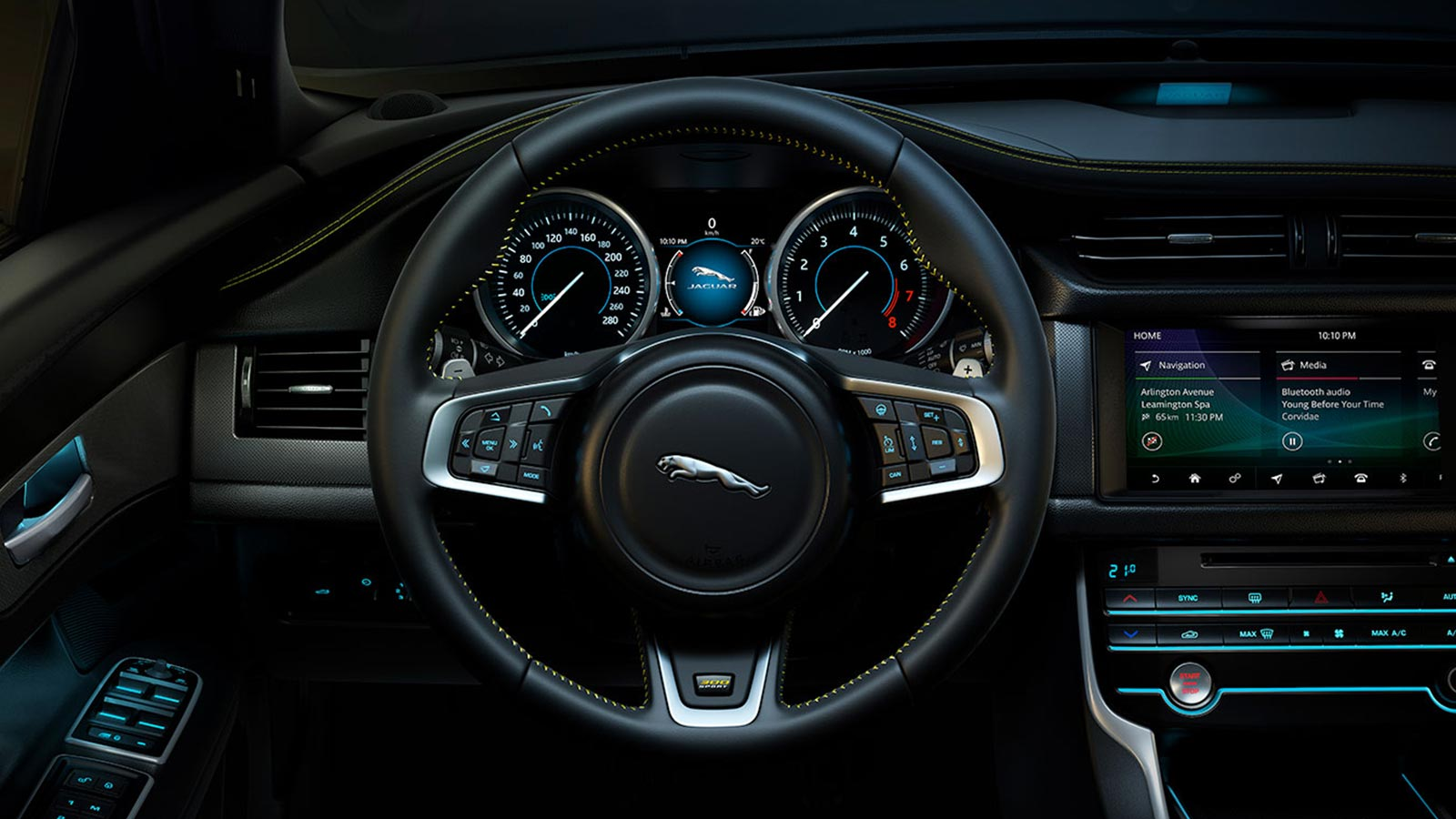 Jaguar XF Interior shot showing the steering wheel.