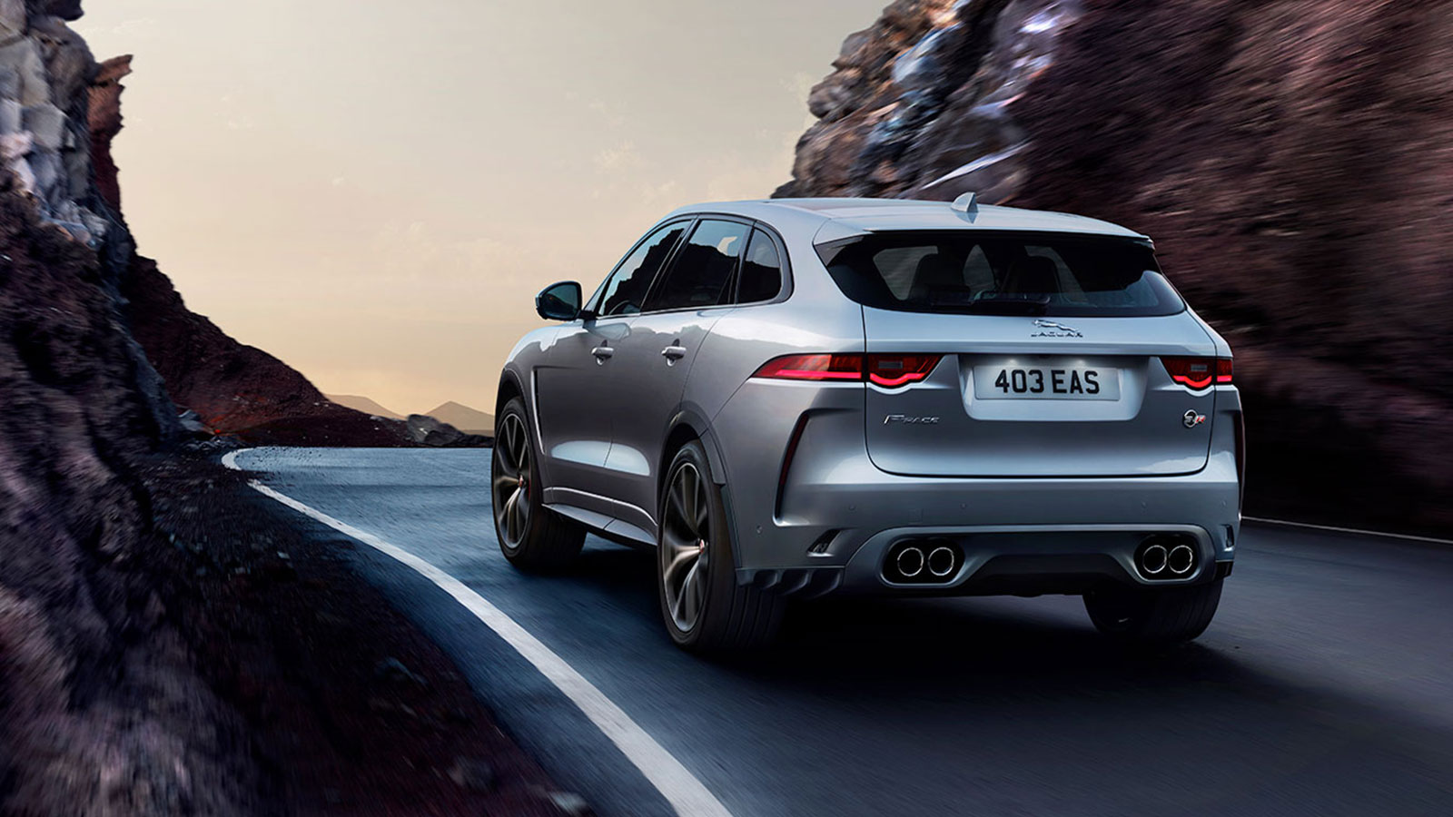 Rear View of Silver Jaguar F-PACE.