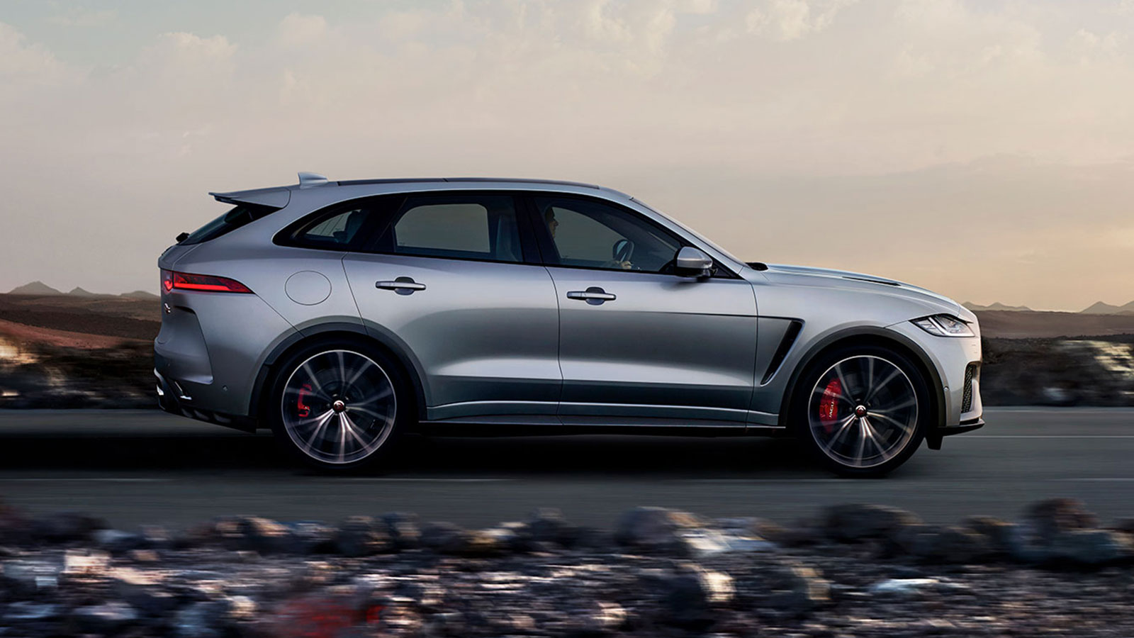 Side View of Silver Jaguar F-Pace.