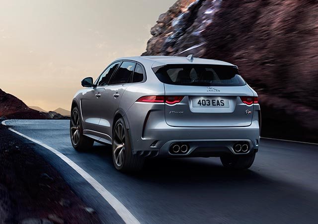 Jaguar Grey F-PACE SVR driven around a bend