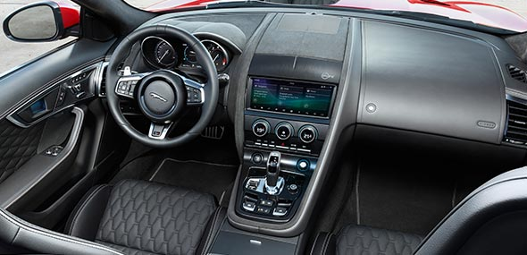 Jaguar F-TYPE SVR Interior, with black leather seating, and features, and white fine contrast stitching