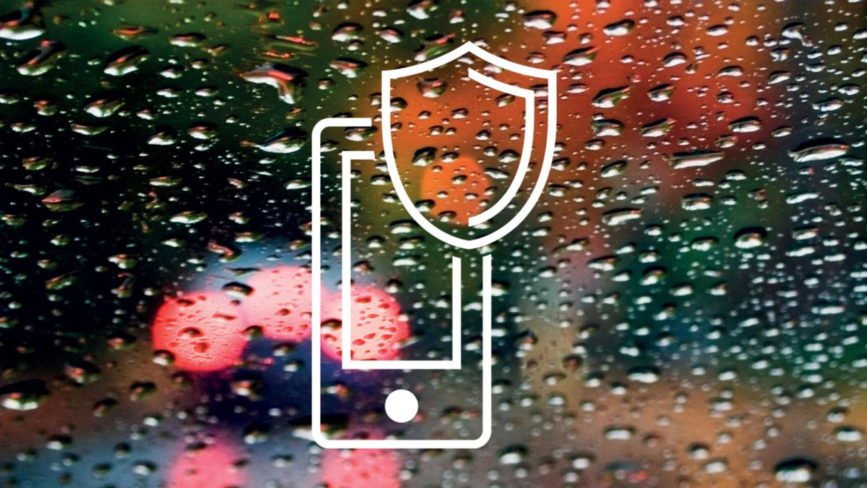 The InControl Protect logo against rain on a car window