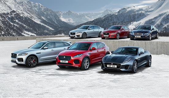 The Jaguar range in various colours parked in the snow.