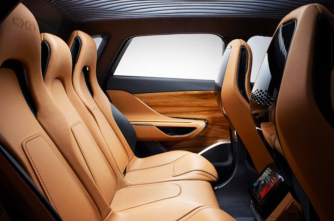 Rear cabin of the Jaguar C-X17 concept car with tan interior.