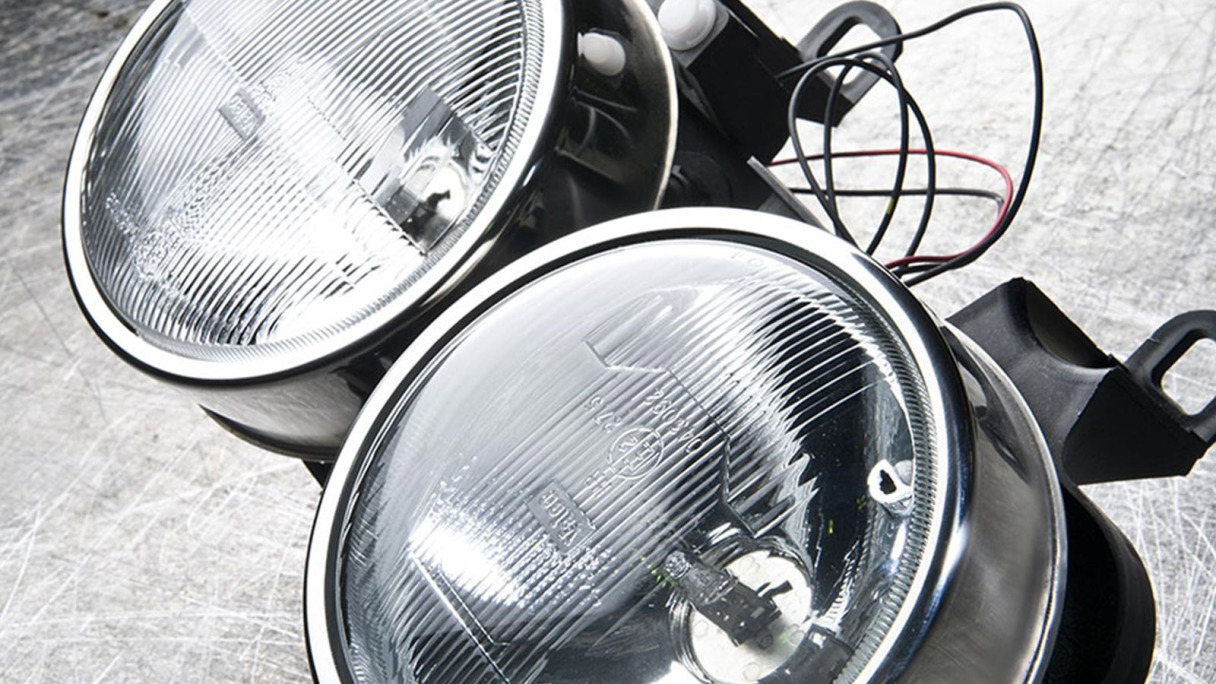 Duo headlights unattached to a vehicle.