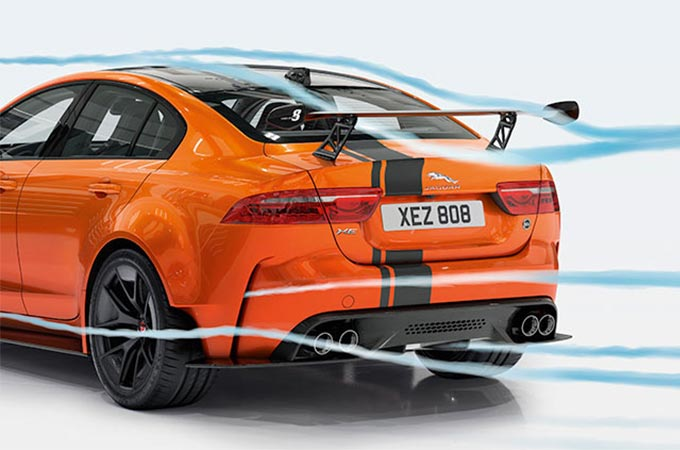 Jaguar XE SV Project 8 Rear Wing in orange, with blue lines highlighting the air direction over the car