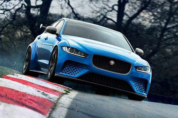 Jaguar XE SV Project 8 in blue on a race track