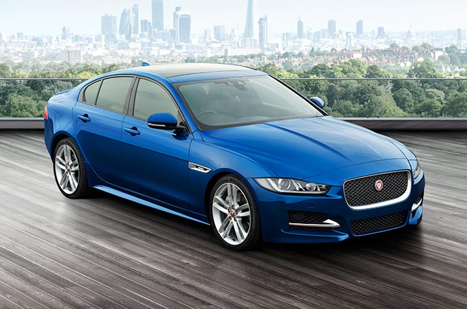 Jaguar XE in Caesium Blue.