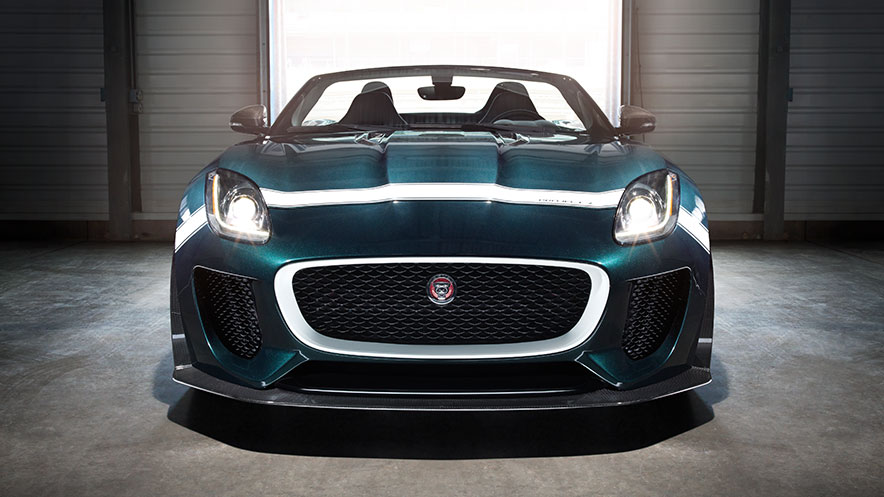 Forwarding facing Jaguar F-TYPE Project 7 in dark green.
