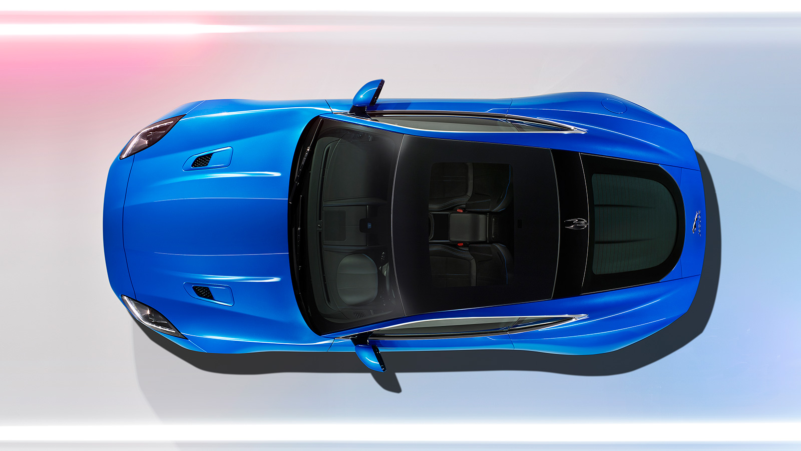 Jaguar F-TYPE British Design Edition in blue from above.