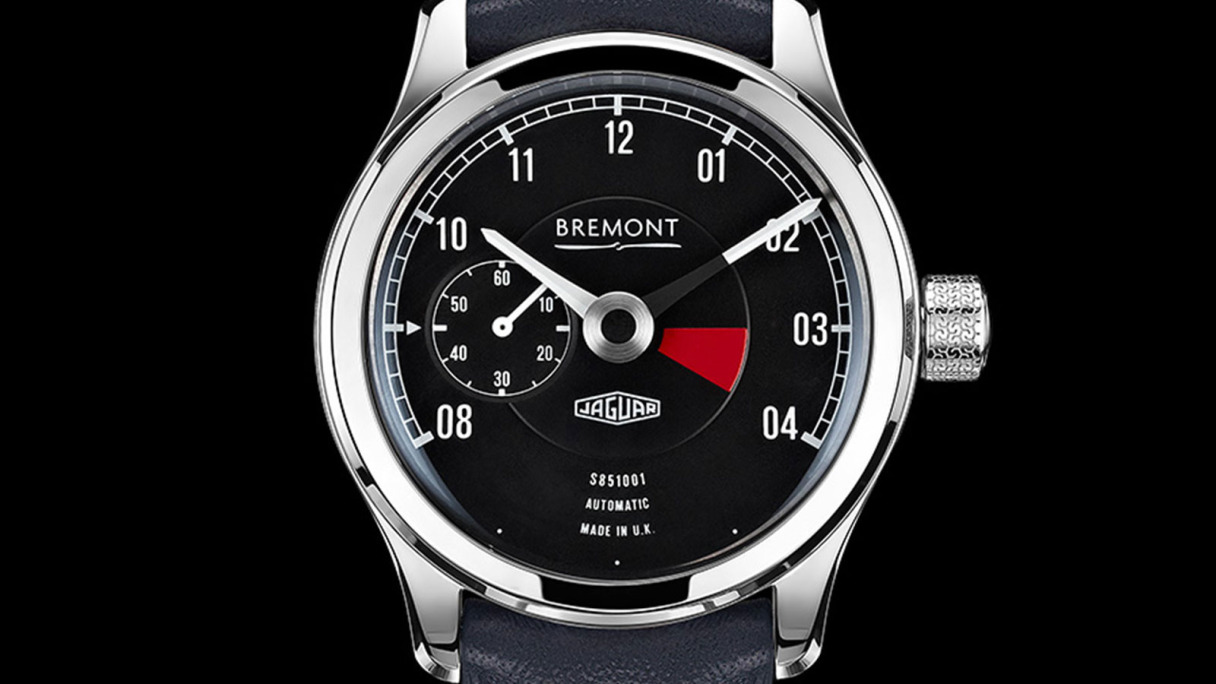 The front of the Jaguar Lightweight E-TYPE Bremont Wristwatch.