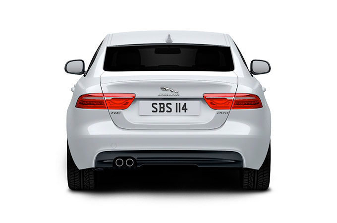 rear of a white jaguar.