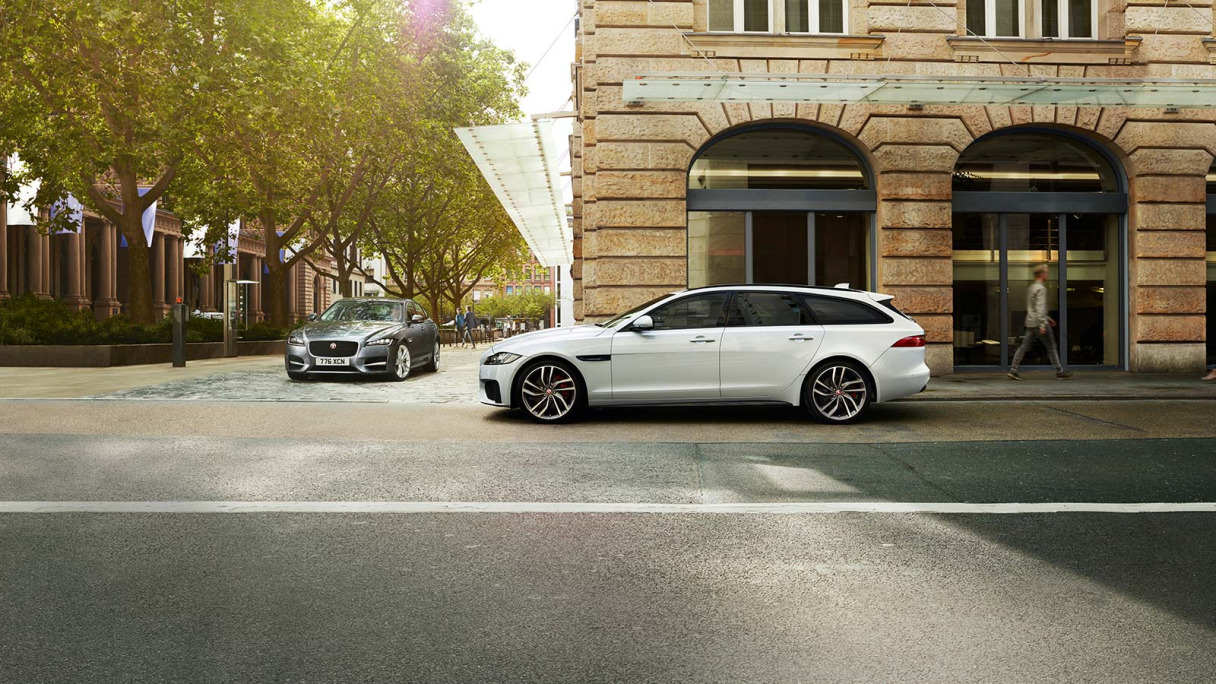 XF Saloon and Sportbrake parked in urban environment.