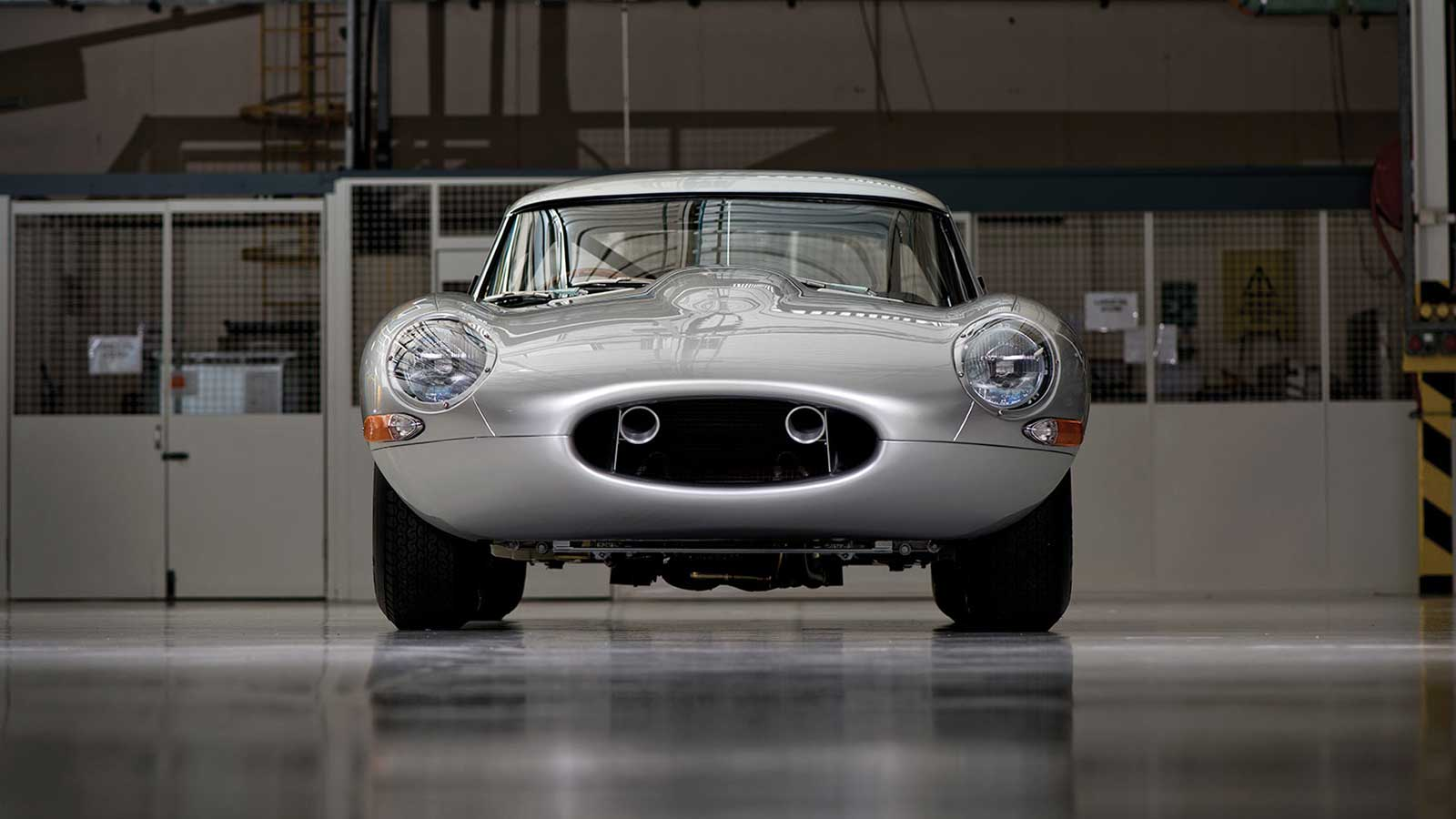 Jaguar Lightweight E-TYPE front view.
