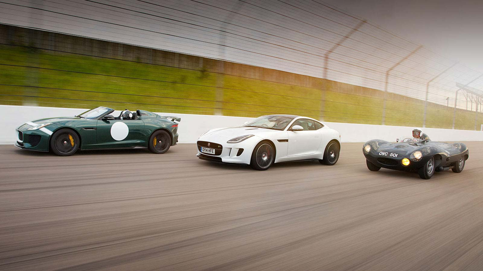 Jaguar F-TYPE Project 7 is joined on the race track by another F-TYPE and a classic D-TYPE.