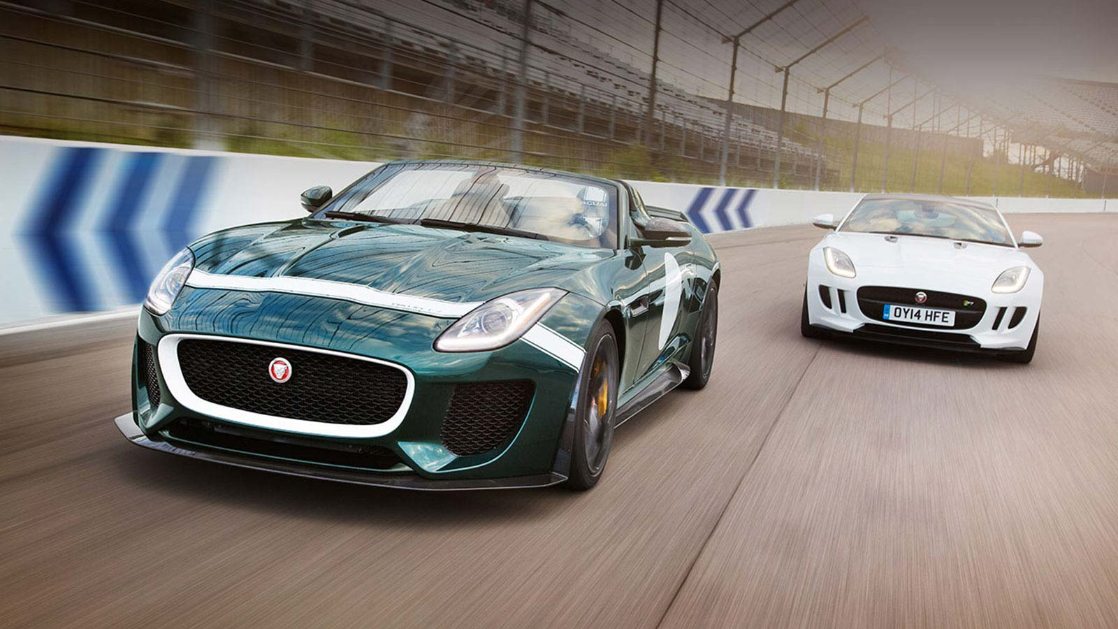 Jaguar F-TYPE Project 7 and F-TYPE in white racing together.