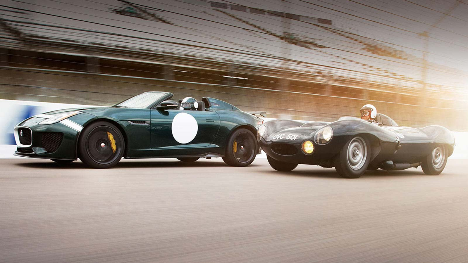 Jaguar F-TYPE Project 7 and Classic D-TYPE racing together.