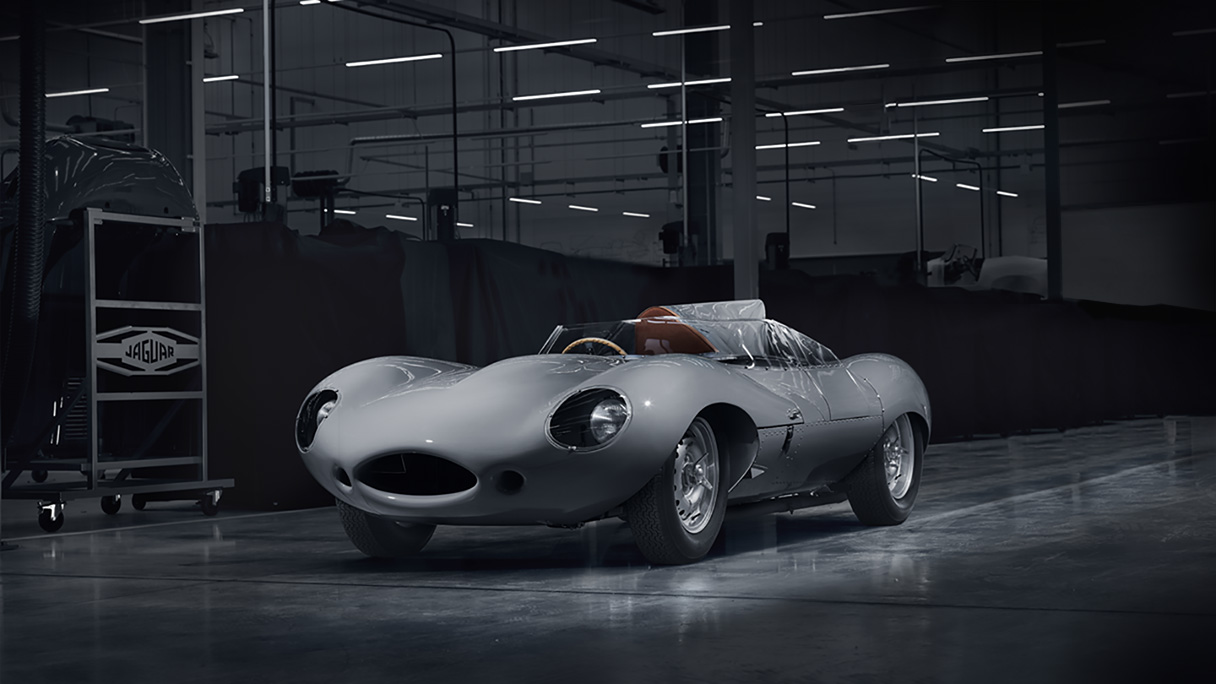 Jaguar D-TYPE in a warehouse.