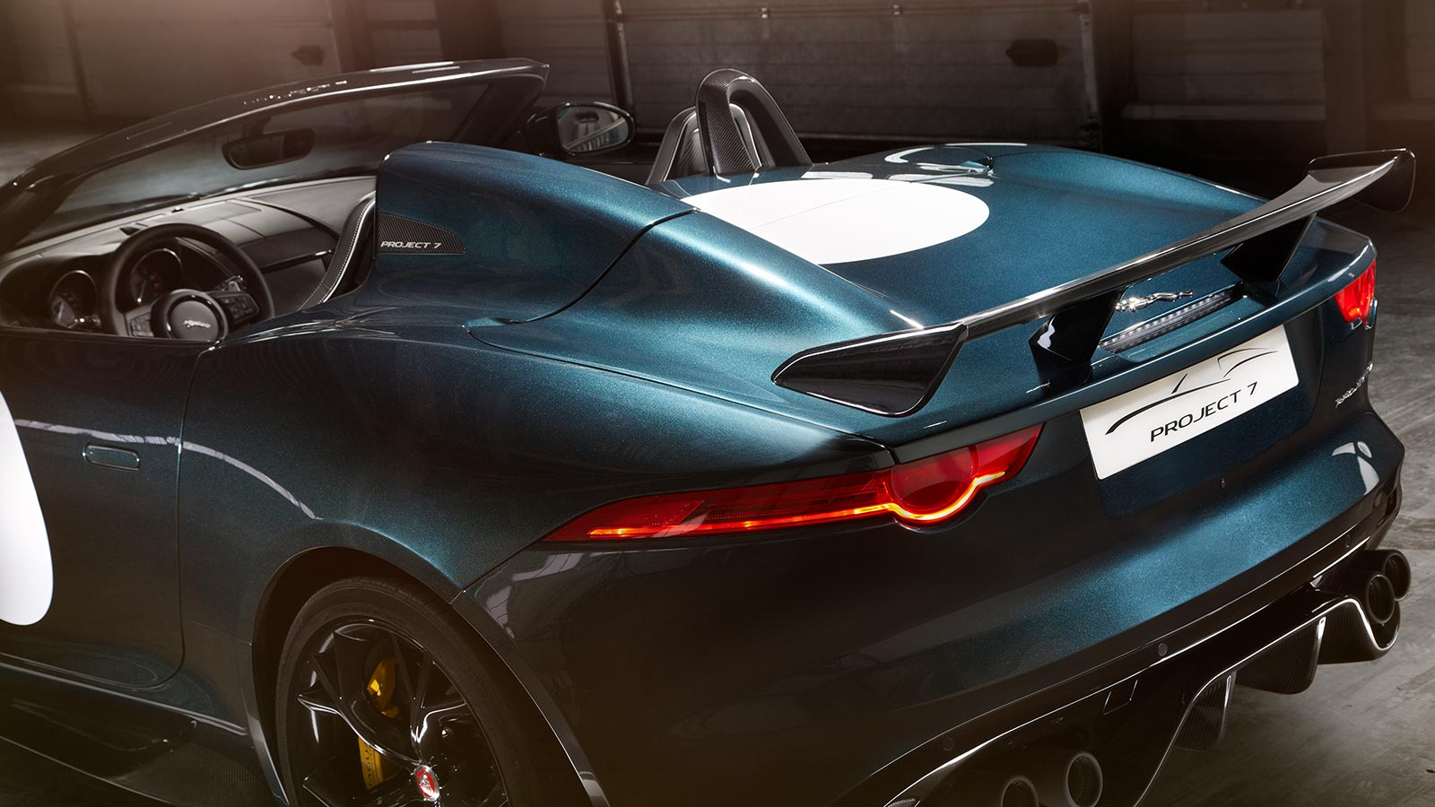 Jaguar F-TYPE Project 7 in dark green rear nameplate.
