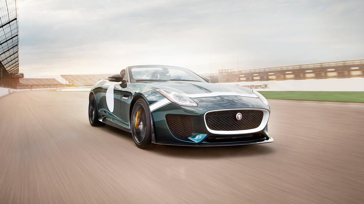 Jaguar F-TYPE Project 7 driving on a race track.